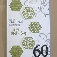 60th Birthday Handmade Card  -  21st, 40th, 50th