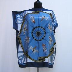 Blue plus size Horse tunic, blue Caftan, swim cover up, boho kaftan, upcycled