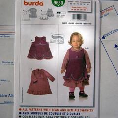 Burda 9680 sewing pattern, - Baby and toddler dress, UNCUT