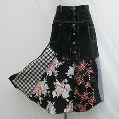 Black and white skirt, black denim skirt, upcycled patchwork skirt, refashioned