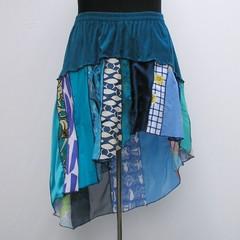 Blue plus size skirt, upcycled patchwork skirt, refashioned skirt, boho skirt