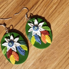 Handmade Earrings - Art Deco Flannel Flower Large Drops