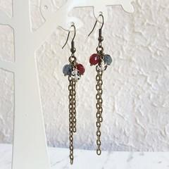 Vintage style long chain beaded tassel dangling earrings , Red Gray blue Clear
