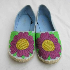 Blue tropical shoes, Hand painted Shoes, blue espadrilles, upcycled canvas shoes