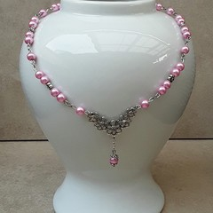 PINK PEARL NECKLACE, PINK PEARL CHOKER, CHOKER NECKLACE, STATEMENT NECKLACE