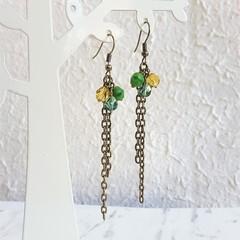 Vintage style long chain beaded tassel dangling earrings , Lime green Blue Beige