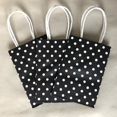 Kraft paper bag - Polka Dots - Black & white - 3 different sizes - 3 pieces