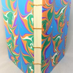 Handmade Journal or Sketchbook, Lay Flay, Hand Marbled Covers
