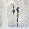 Vintage style long chain beaded tassel dangling earrings , Navy blue Gray Cream