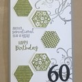 60th Birthday Handmade Card  -  21st, 40th, 50th