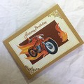 'Burning Rubber Motorbike' Kraft Birthday Card