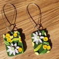 Handmade Earrings - Flannel Flower and Wattle Large Drops