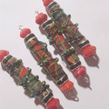 Green/red Designer Beads Boho Gypsy Wire wrapped paper/fabric beads sold solo