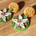 Handmade Earrings - Art Deco Flannel Flower Drops