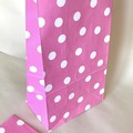 Paper Bags - Polka dots - Pink & white - 13x24cm - 4 pieces - gift, baby shower
