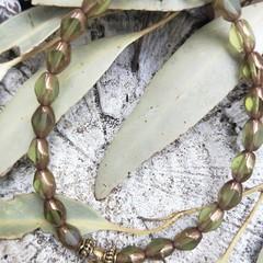 Olivine  & bronze Czech fire-polished bracelet.