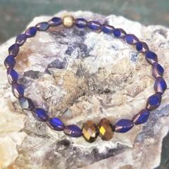 Vibrant magenta Czech fire-polished glass bracelet.