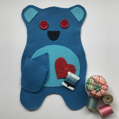 TEDDY BEAR SEWING KIT - BLUE with LIGHT BLUE