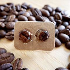 Coffee bean resin earrings (hexagon)
