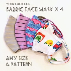 Fabric Face Masks x 4 / Reusable / Washable / for Family
