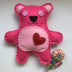 TEDDY BEAR SEWING KIT - HOT PINK
