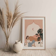 Girl in Window Drinking Wine, Abstract Wall Print, Illustration