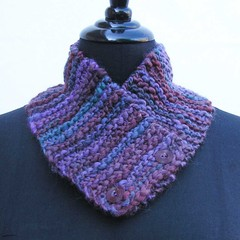 Purple scarf, lilac neck warmer, lavender neckwarmer, chunky buttoned cowl