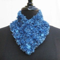Royal Blue neck warmer, blue scarf, blue neckwarmer, knitted buttoned cowl