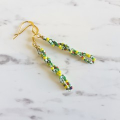 Tribal style seed bead spiral bar drop earrings , Yellow Green White Red