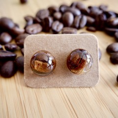 Coffee bean resin earrings (semicircular)