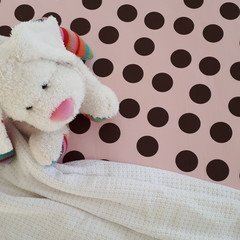 Fitted Cot Sheet - Cotton -Dusty Pink with Chocolate Spots