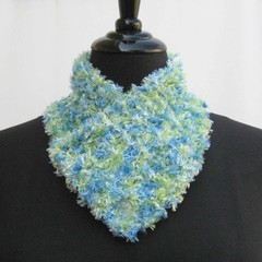 Blue and green neck warmer, blue neckwarmer, knitted buttoned cowl, blue scarf