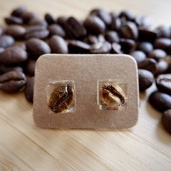 Coffee bean resin earrings (cube)