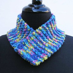 Blue neck warmer, blue scarf, blue and yellow neckwarmer, buttoned cowl