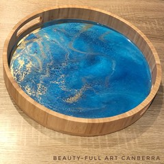 Aqua, Blue and Gold Resin Art and Bamboo Serving Tray