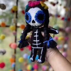 Day Of The Dead Doll Crochet Sugar Skull Doll Handmade Ready To Ship