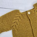 Gorgeous Hand Knitted Cardigan in Mustard/Gold Pure Wool, fits 3-6 months