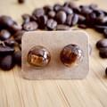 Coffee bean resin earrings (semicircular)
