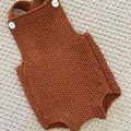 Rust  Baby Romper - Size 0-3months - hand knitted in pure wool