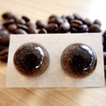 Coffee grounds resin earrings (half-sphere)