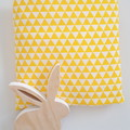 Fitted Cot Sheet - Cotton - Sunflower Yellow and White Triangles