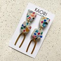 Statement earrings in polymer clay, terrazzo