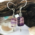 Sterling silver and rainbow fluorite boho dangle earrings with flower charms