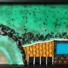 "Resin and Mosaic Wall Art - ""Bondi Beach"""