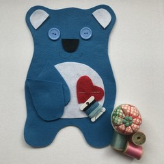 TEDDY BEAR SEWING KIT - BLUE with WHITE