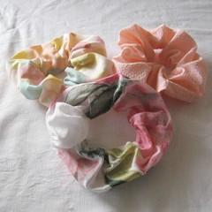 3 Pink scrunchies, pink scrunchie, pink ponytail holder, pink hair accessory