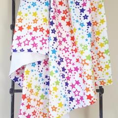 Baby Blanket - Rainbow of Stars - Flannelette