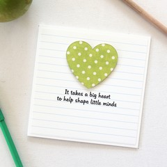Teacher Thank You Card, Personalised, 8 Quotes, Custom Made, Green Spots