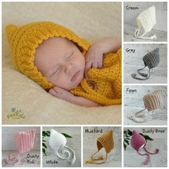 Vintage Newborn Crochet Baby Pixie Bonnet Beanie Hat Photo Prop