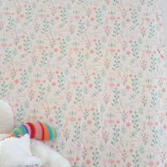 Fitted Cot Sheet - Cotton - Peach Mushroom Dragonfly